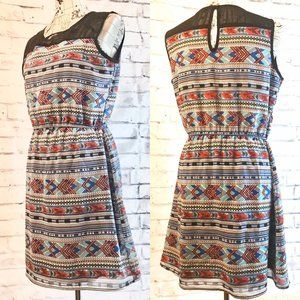 INDULGE Aztec Print Sleeveless Dress